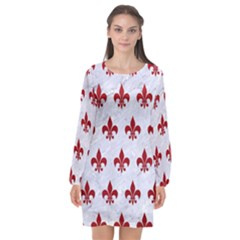 Royal1 White Marble & Red Leather Long Sleeve Chiffon Shift Dress  by trendistuff