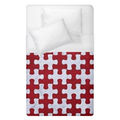 Puzzle1 White Marble & Red Leather Duvet Cover (single Size) by trendistuff