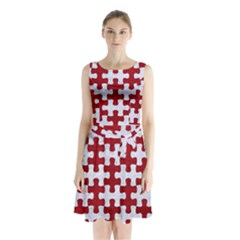 Puzzle1 White Marble & Red Leather Sleeveless Waist Tie Chiffon Dress
