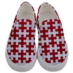 Puzzle1 White Marble & Red Leather Men s Canvas Slip Ons