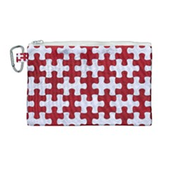 Puzzle1 White Marble & Red Leather Canvas Cosmetic Bag (large) by trendistuff