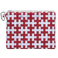 Puzzle1 White Marble & Red Leather Canvas Cosmetic Bag (xxl) by trendistuff