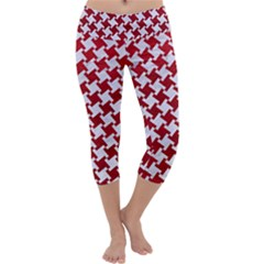 Houndstooth2 White Marble & Red Leather Capri Yoga Leggings