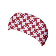 Houndstooth2 White Marble & Red Leather Yoga Headband by trendistuff
