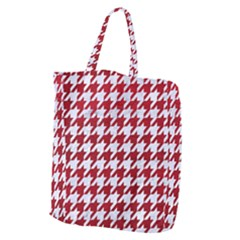 Houndstooth1 White Marble & Red Leather Giant Grocery Zipper Tote by trendistuff