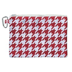 Houndstooth1 White Marble & Red Leather Canvas Cosmetic Bag (xl)