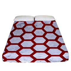 Hexagon2 White Marble & Red Leather (r) Fitted Sheet (california King Size) by trendistuff