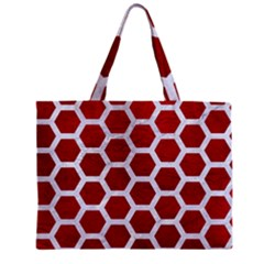 Hexagon2 White Marble & Red Leather Zipper Mini Tote Bag by trendistuff