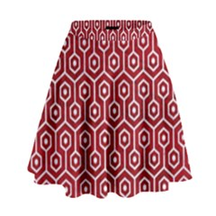 Hexagon1 White Marble & Red Leather High Waist Skirt