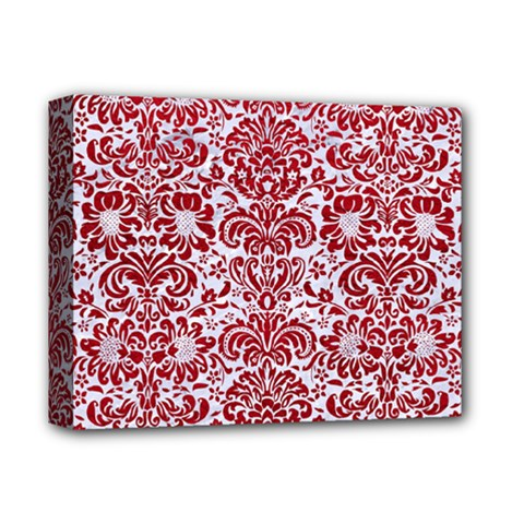 Damask2 White Marble & Red Leather (r) Deluxe Canvas 14  X 11  by trendistuff