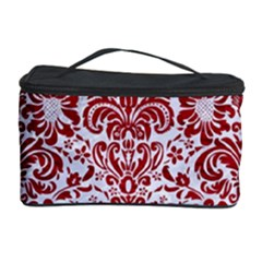 Damask2 White Marble & Red Leather (r) Cosmetic Storage Case by trendistuff