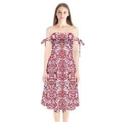 Damask2 White Marble & Red Leather (r) Shoulder Tie Bardot Midi Dress