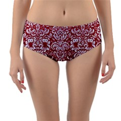 Damask2 White Marble & Red Leather Reversible Mid Waist Bikini Bottoms by trendistuff