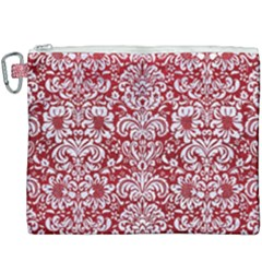 Damask2 White Marble & Red Leather Canvas Cosmetic Bag (xxxl) by trendistuff