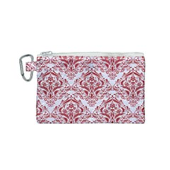 Damask1 White Marble & Red Leather (r) Canvas Cosmetic Bag (small) by trendistuff