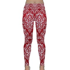Damask1 White Marble & Red Leather Classic Yoga Leggings
