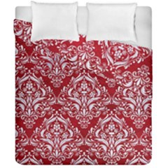 Damask1 White Marble & Red Leather Duvet Cover Double Side (california King Size) by trendistuff