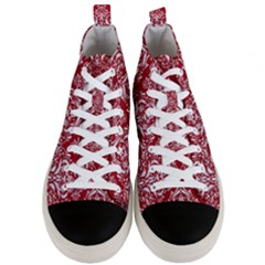 Damask1 White Marble & Red Leather Men s Mid Top Canvas Sneakers