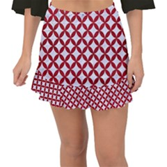 Circles3 White Marble & Red Leather (r) Fishtail Mini Chiffon Skirt
