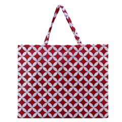 Circles3 White Marble & Red Leather Zipper Large Tote Bag by trendistuff