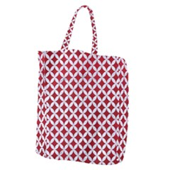 Circles3 White Marble & Red Leather Giant Grocery Zipper Tote by trendistuff