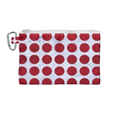 Circles1 White Marble & Red Leather (r) Canvas Cosmetic Bag (medium) by trendistuff
