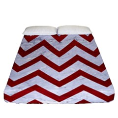 Chevron9 White Marble & Red Leather (r) Fitted Sheet (california King Size) by trendistuff