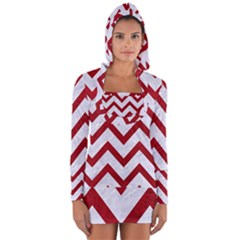 Chevron9 White Marble & Red Leather (r) Long Sleeve Hooded T Shirt