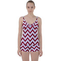 Chevron9 White Marble & Red Leather (r) Tie Front Two Piece Tankini