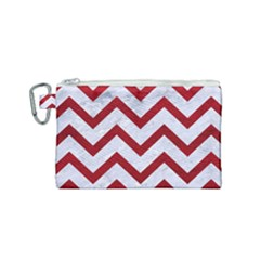Chevron9 White Marble & Red Leather (r) Canvas Cosmetic Bag (small) by trendistuff