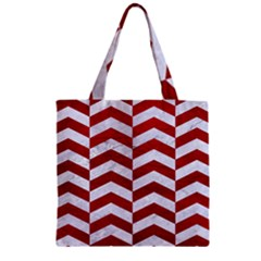 Chevron2 White Marble & Red Leather Zipper Grocery Tote Bag by trendistuff
