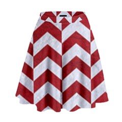 Chevron2 White Marble & Red Leather High Waist Skirt