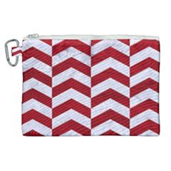 Chevron2 White Marble & Red Leather Canvas Cosmetic Bag (xl) by trendistuff