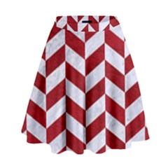 Chevron1 White Marble & Red Leather High Waist Skirt