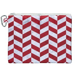 Chevron1 White Marble & Red Leather Canvas Cosmetic Bag (xxl) by trendistuff