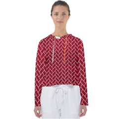 Brick2 White Marble & Red Leather Women s Slouchy Sweat