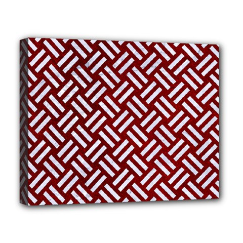 Woven2 White Marble & Red Grunge Deluxe Canvas 20  X 16   by trendistuff
