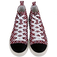 Woven2 White Marble & Red Grunge Men s Mid Top Canvas Sneakers