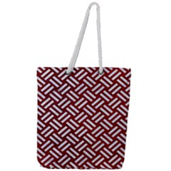 Woven2 White Marble & Red Grunge Full Print Rope Handle Tote (large) by trendistuff