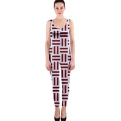 Woven1 White Marble & Red Grunge (r) One Piece Catsuit