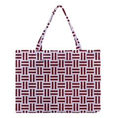 Woven1 White Marble & Red Grunge (r) Medium Tote Bag by trendistuff