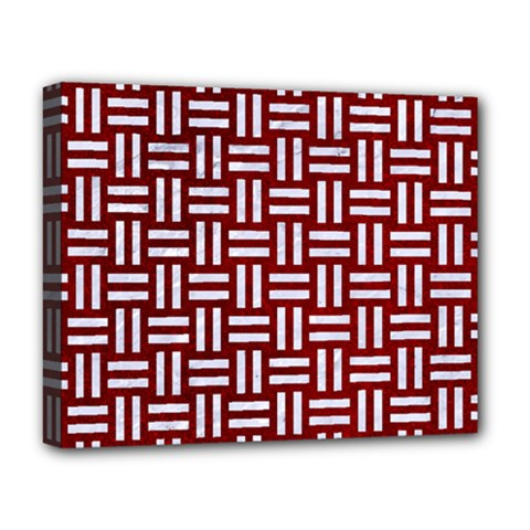Woven1 White Marble & Red Grunge Deluxe Canvas 20  X 16   by trendistuff