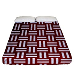 Woven1 White Marble & Red Grunge Fitted Sheet (queen Size) by trendistuff
