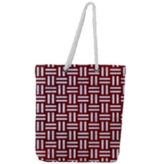 Woven1 White Marble & Red Grunge Full Print Rope Handle Tote (large) by trendistuff