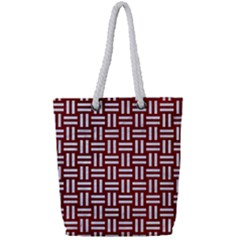 Woven1 White Marble & Red Grunge Full Print Rope Handle Tote (small) by trendistuff