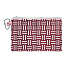 Woven1 White Marble & Red Grunge Canvas Cosmetic Bag (large) by trendistuff