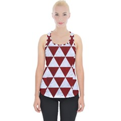 Triangle3 White Marble & Red Grunge Piece Up Tank Top