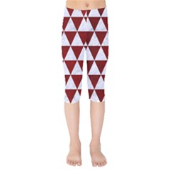 Triangle3 White Marble & Red Grunge Kids  Capri Leggings