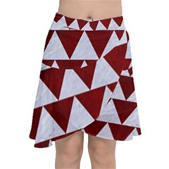 Triangle2 White Marble & Red Grunge Chiffon Wrap
