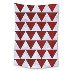 Triangle2 White Marble & Red Grunge Large Tapestry by trendistuff